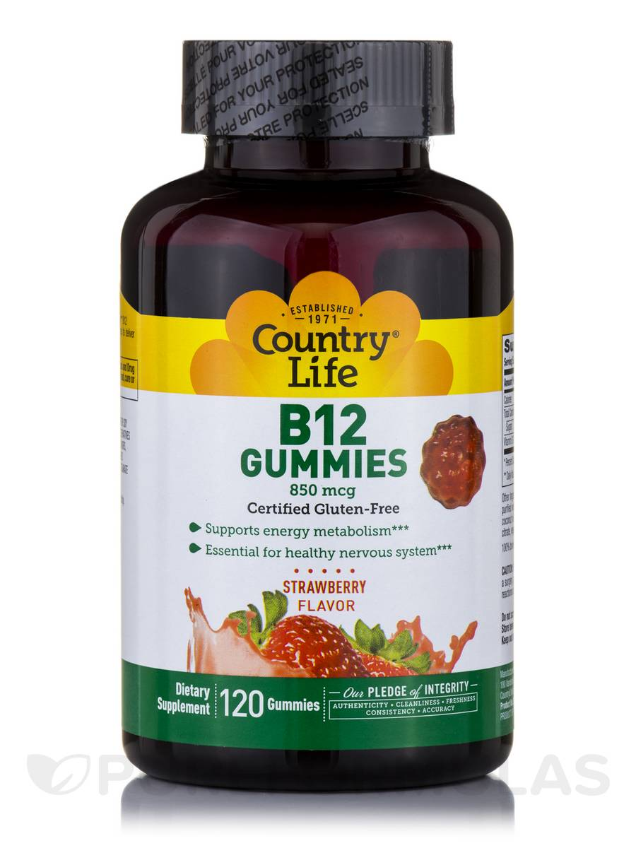 B12 Gummies 850 mcg, Strawberry Flavor - 120 Gummies