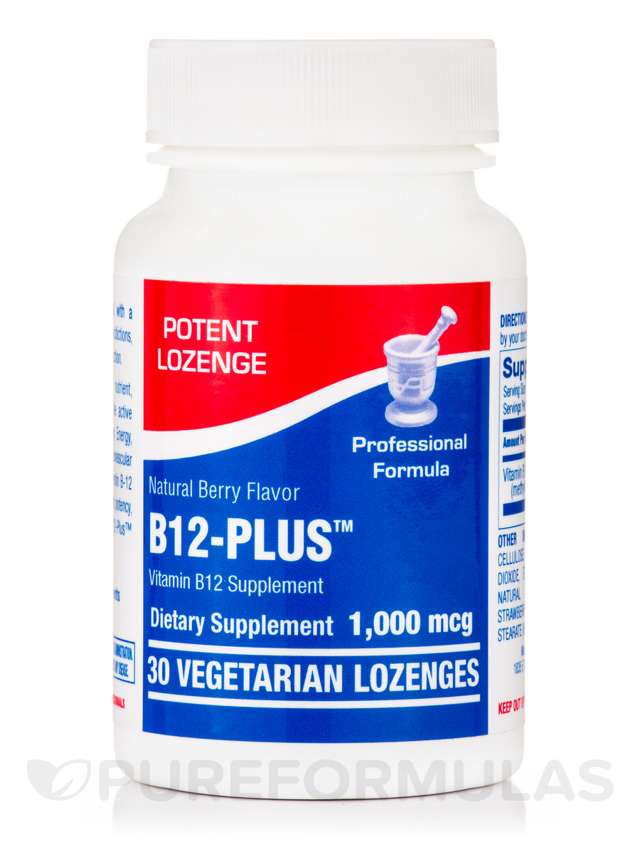 B12-Plus™, Natural Berry Flavor 1000 mcg - 30 Vegetarian Lozenges