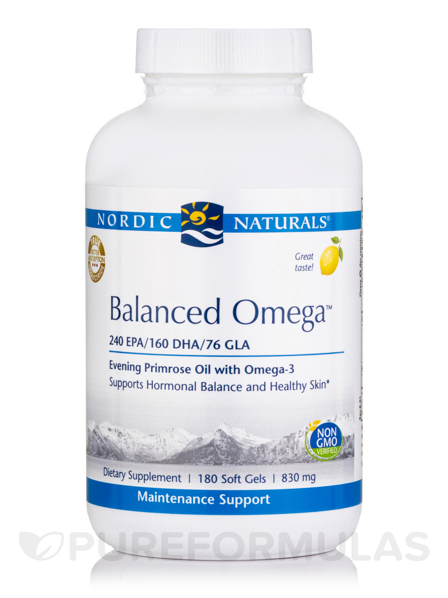 Balanced Omega™ 830 mg, Lemon Flavor - 180 Soft Gels