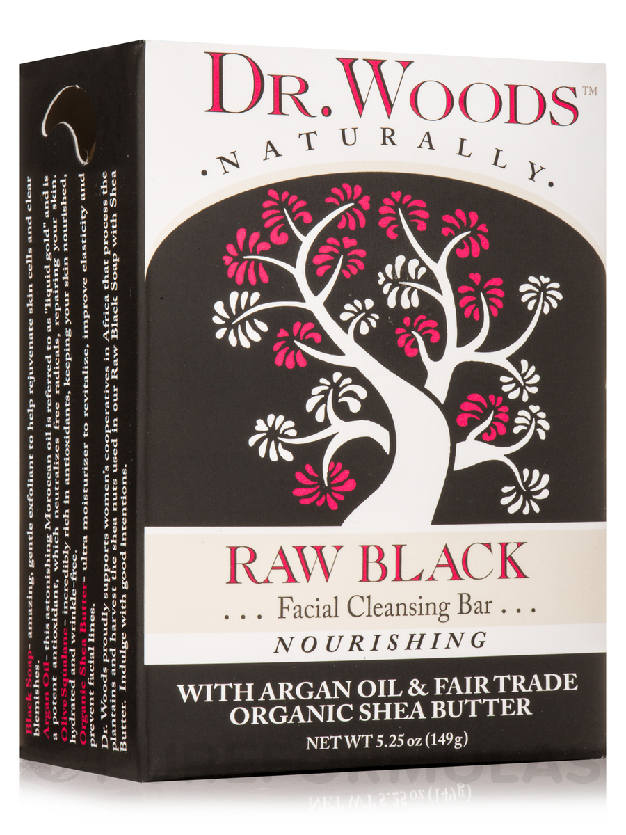 Bar Soap - Raw Black Facial Cleansing Bar - 5.25 oz (149 Grams)