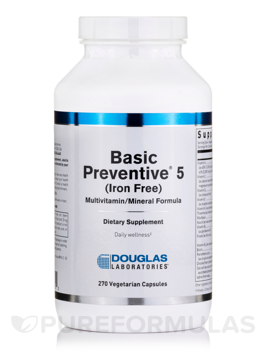 Basic Preventive 5 (Iron Free) - 270 Vegetarian Capsules