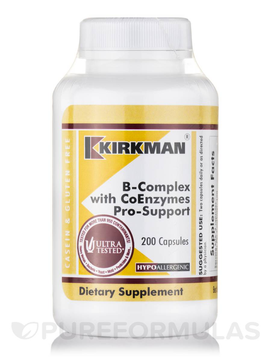 B-Complex with CoEnzymes Pro-Support -Hypoallergenic - 200 Capsules