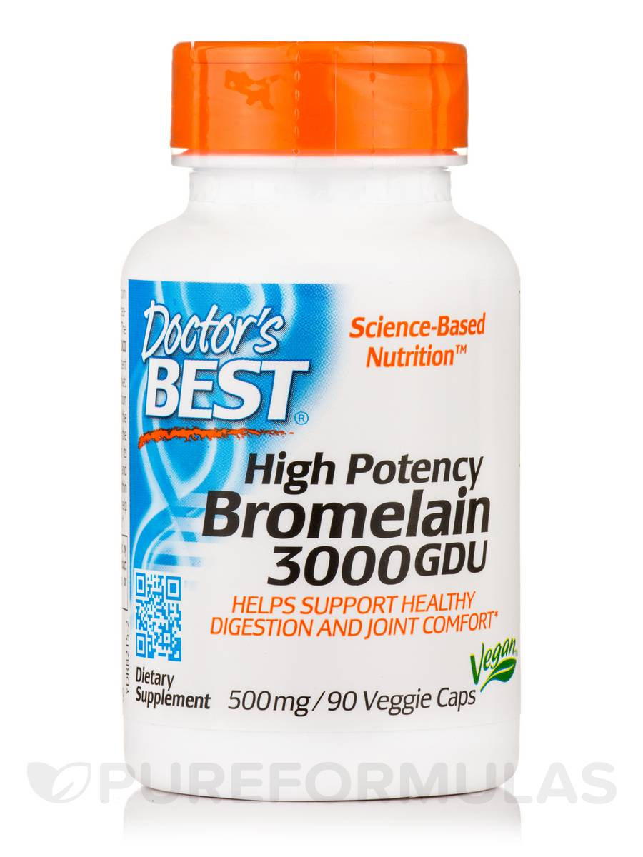 3000 GDU Bromelain 500 mg (High Potency) - 90 Veggie Capsules