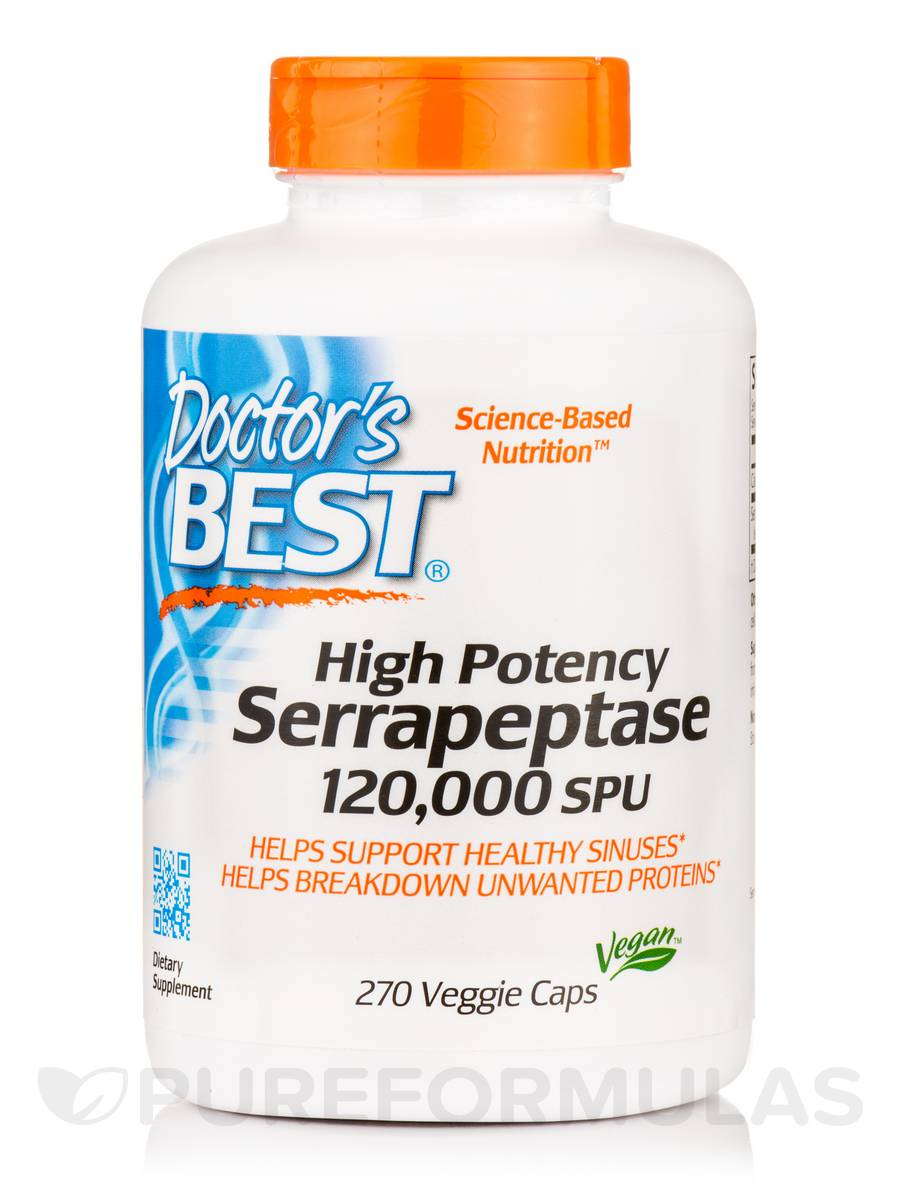 Best High Potency Serrapeptase - 270 Veggie Capsules
