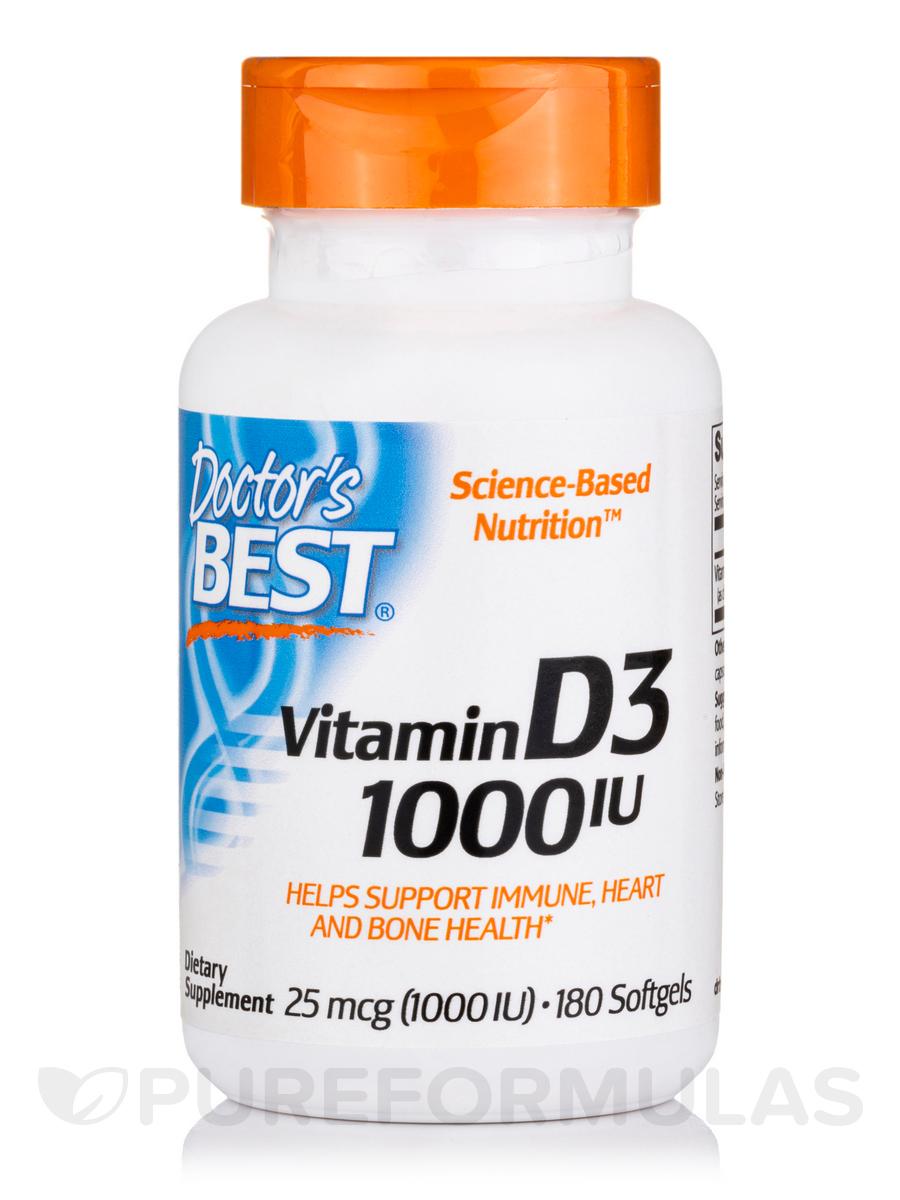 Best Vitamin D3 1000 IU - 180 Softgels