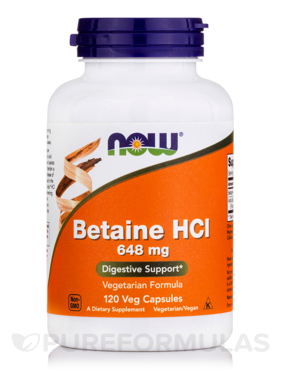 Betaine HCL 648 mg with 150 mg of Pepsin - 120 Capsules