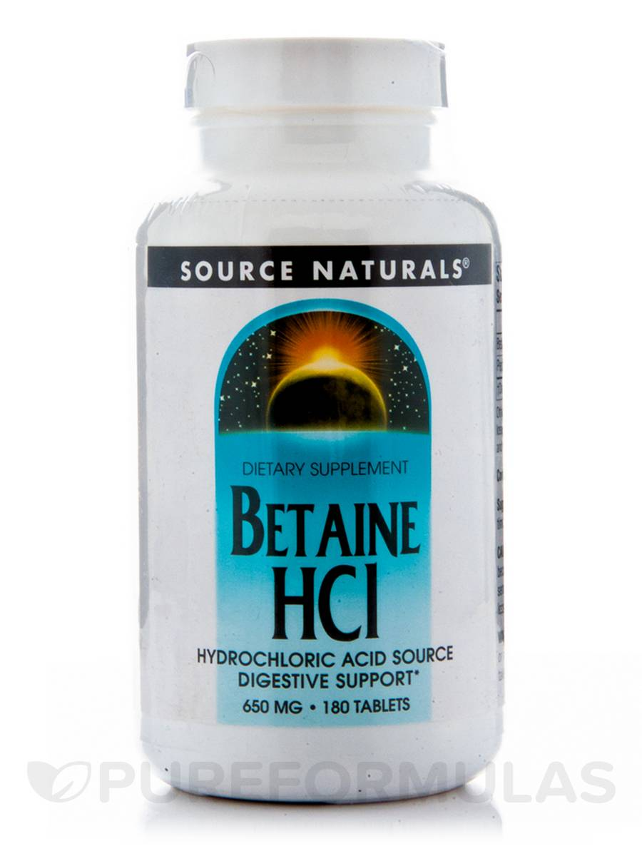 Betaine HCL 650 mg - 180 Tablets