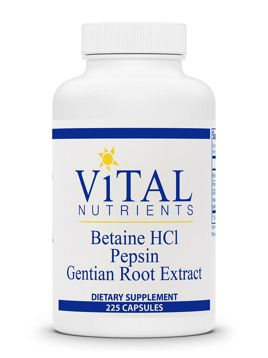 Betaine HCL Pepsin & Gentian Root Extract - 225 Capsules