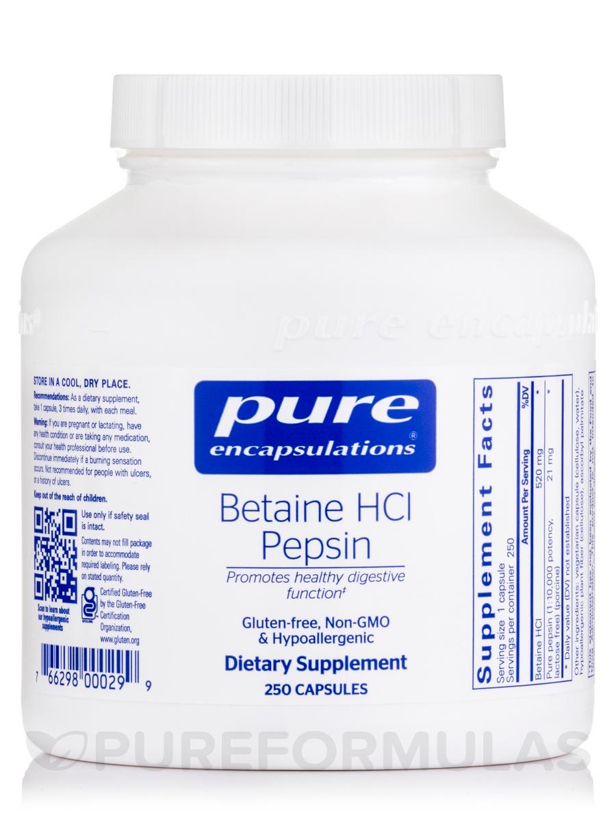 Betaine HCL Pepsin - 250 Capsules