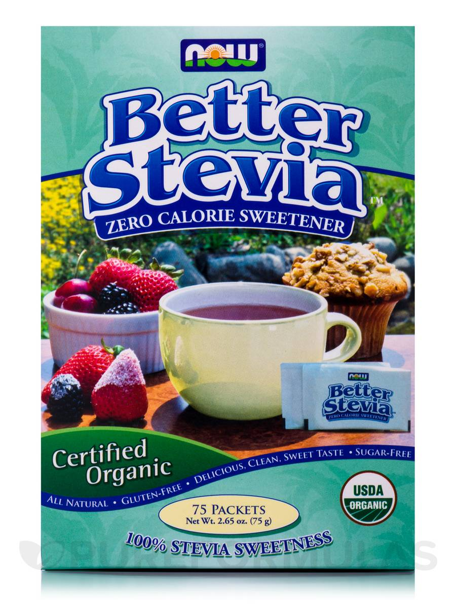 Better Stevia Extract Packets, Organic - Box of 75 Packets