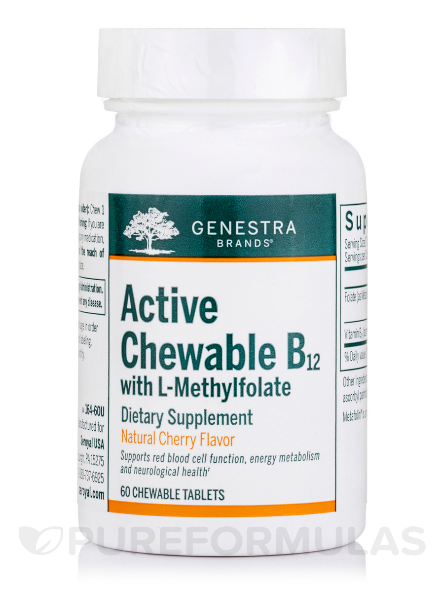 Active Chewable B12 with L-Methylfolate - 60 Chewable Tablets