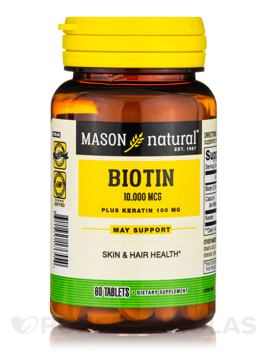 Biotin 10,000 mcg plus Keratin 100 mg - 60 Tablets