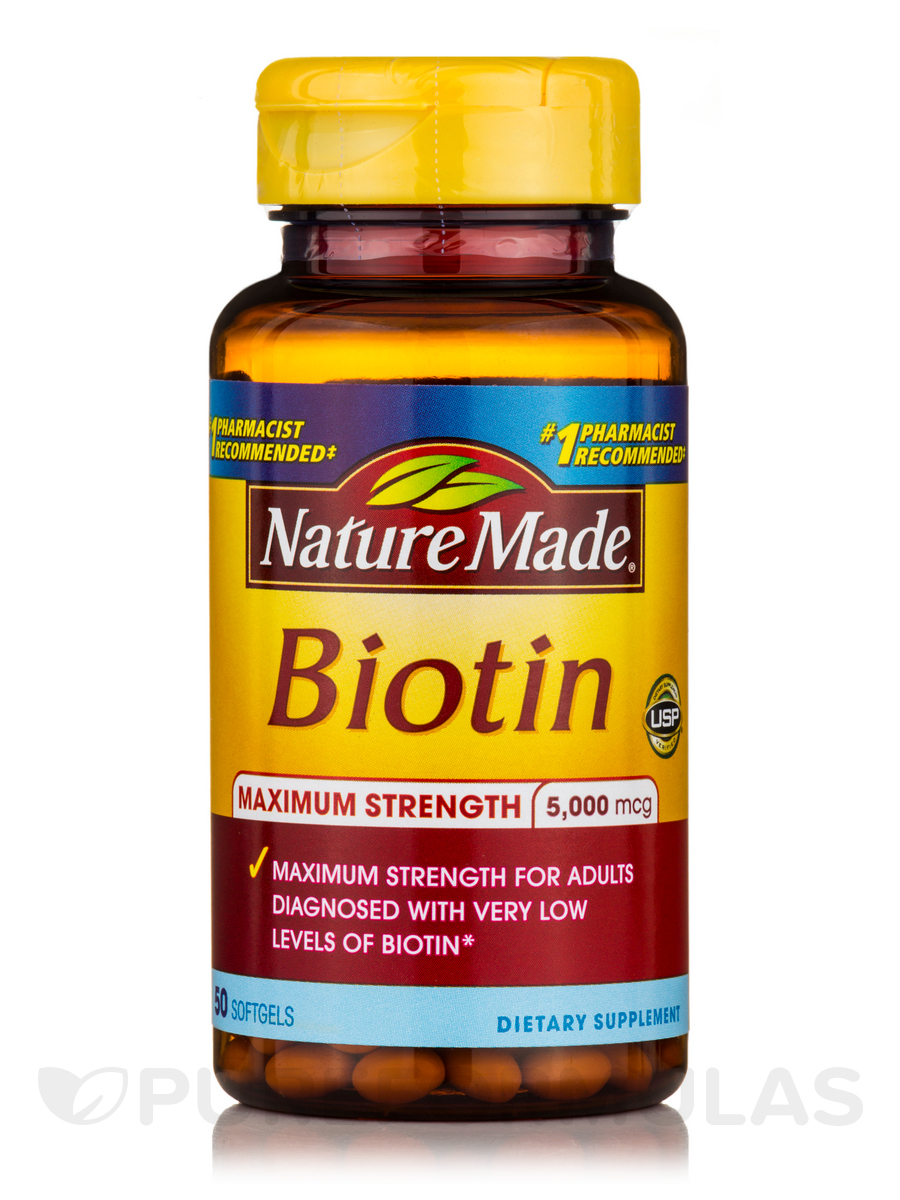 Biotin 5000 mcg Maximum Strength - 50 Softgels