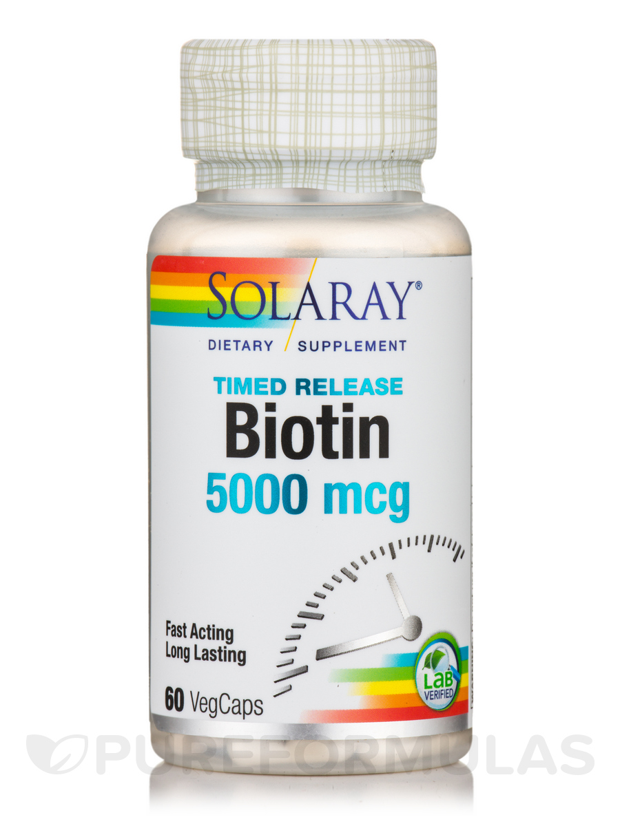 Biotin 5000 mcg, Two-Stage Timed-Release - 60 Vegetarian Capsules
