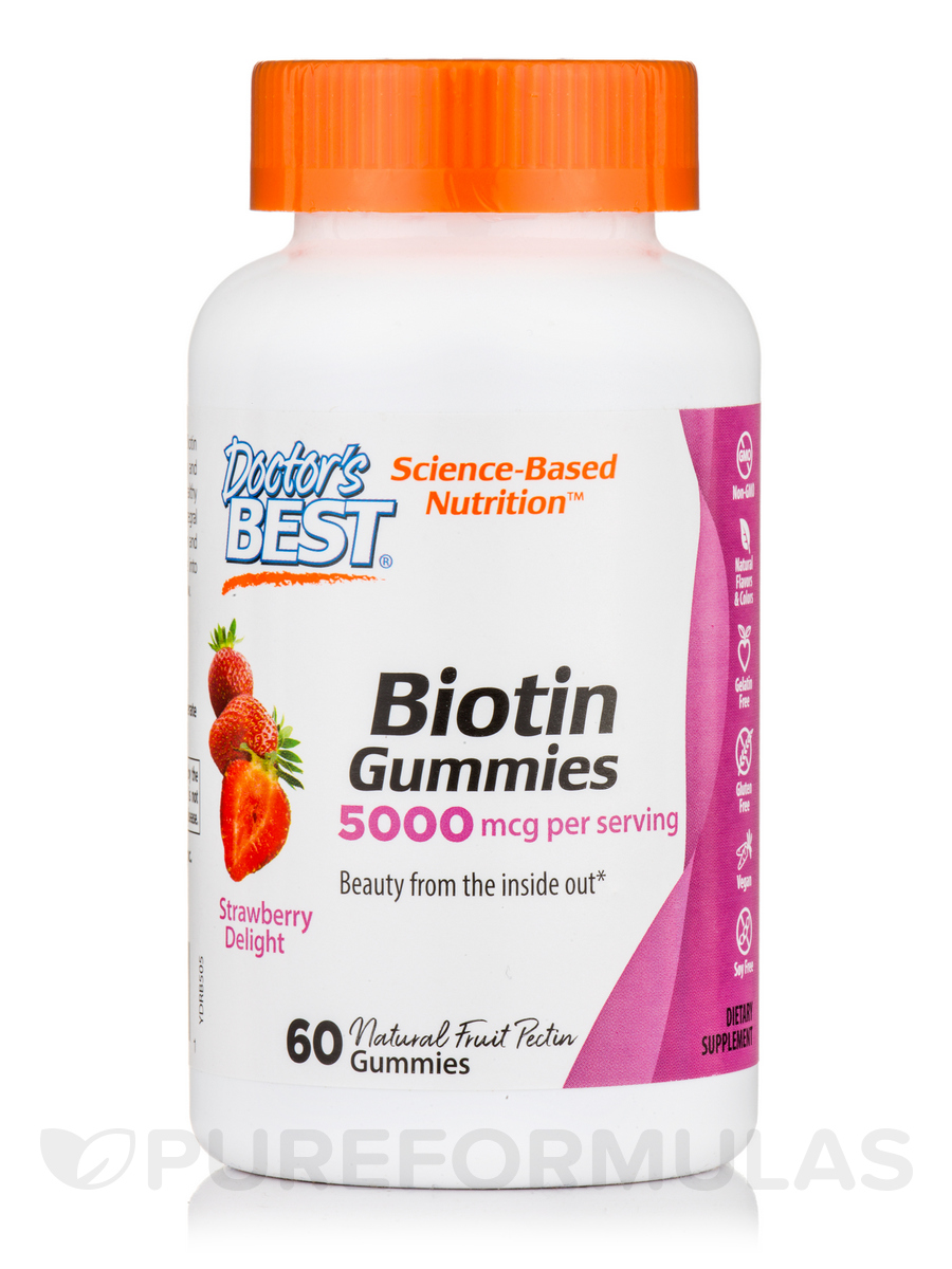 Biotin Gummies 5000 mcg, Strawberry Delight - 60 Gummies