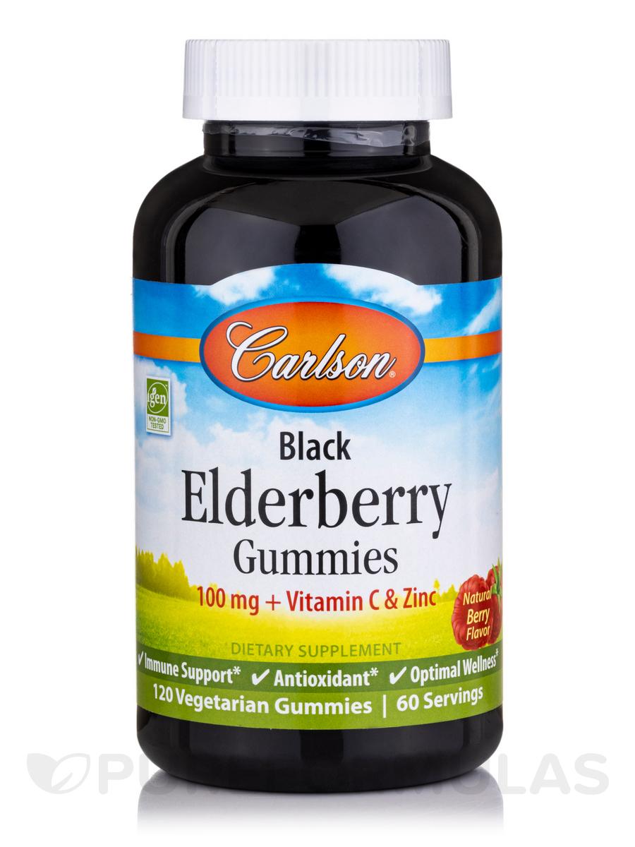 Black Elderberry Gummies, Natural Berry Flavor - 120 Vegetarian Gummies