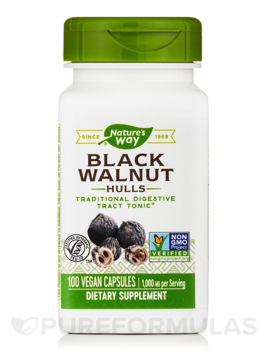 Black Walnut Hulls 500 mg - 100 Vegetarian Capsules