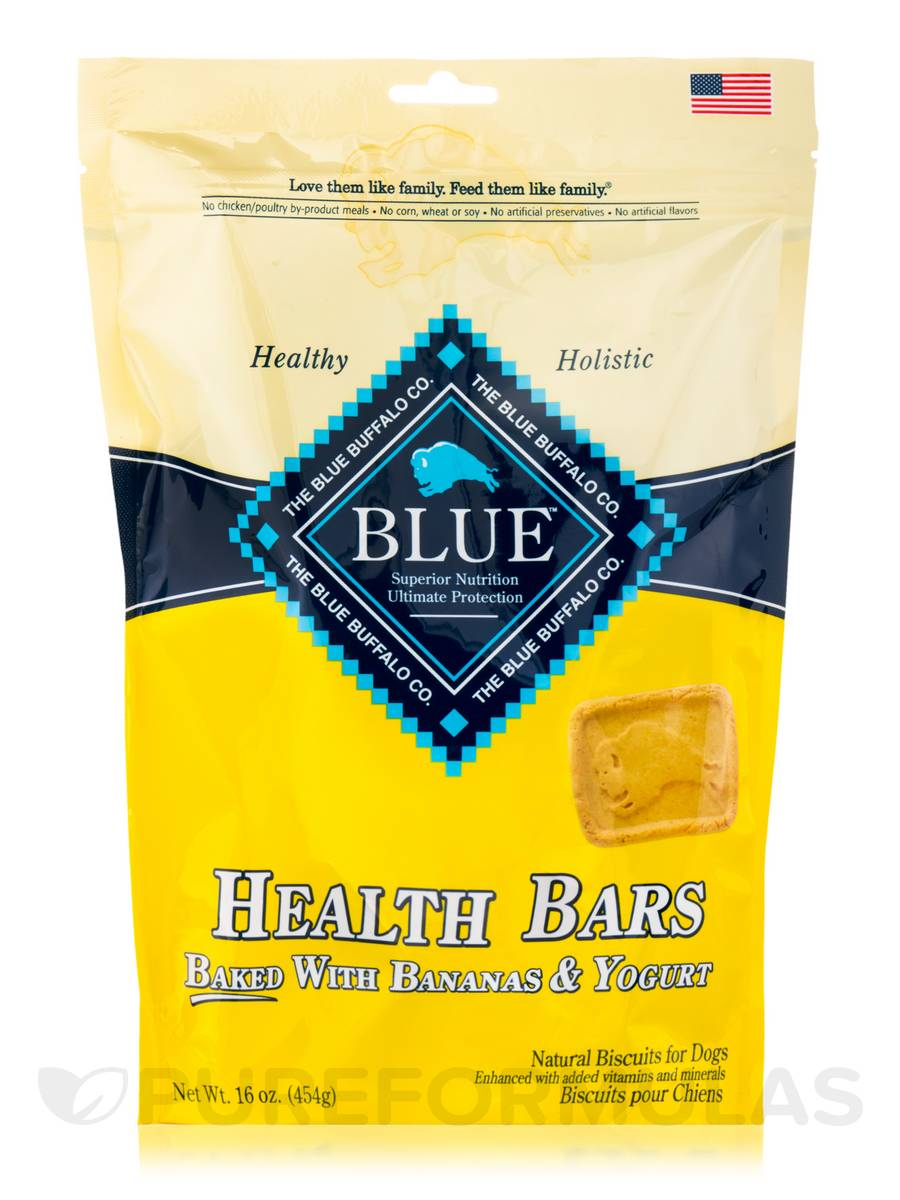 BLUE Health Bars - Natural Biscuits for Dogs, Baked with Bananas & Yogurt - 16 oz (454 Grams)