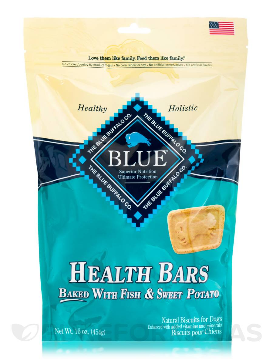 BLUE Health Bars - Natural Biscuits for Dogs, Baked with Fish & Sweet Potato - 16 oz (454 Grams)