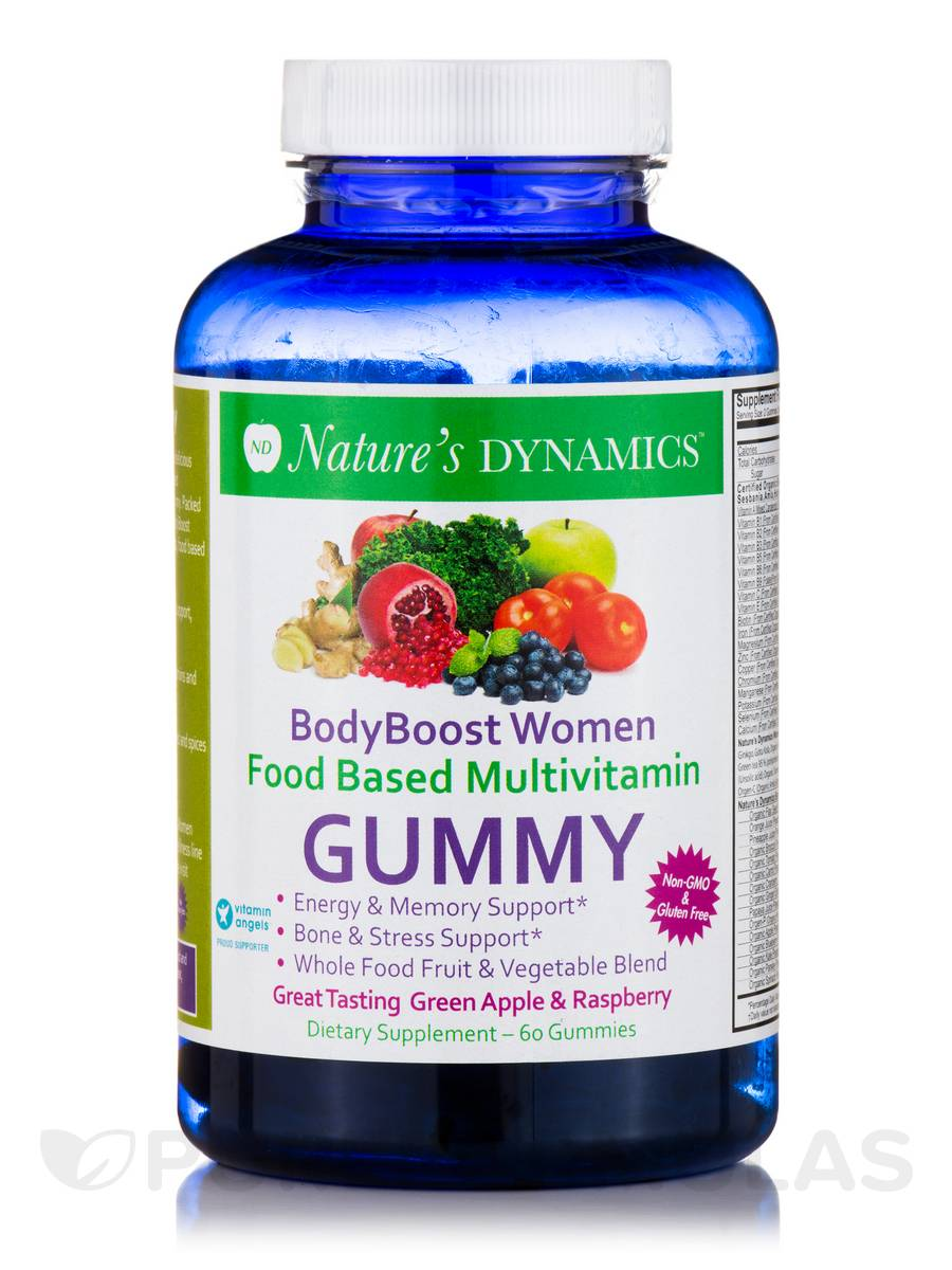 Body Boost Women Food Based Multivitamin, Green Apple & Raspberry Flavor - 60 Gummies