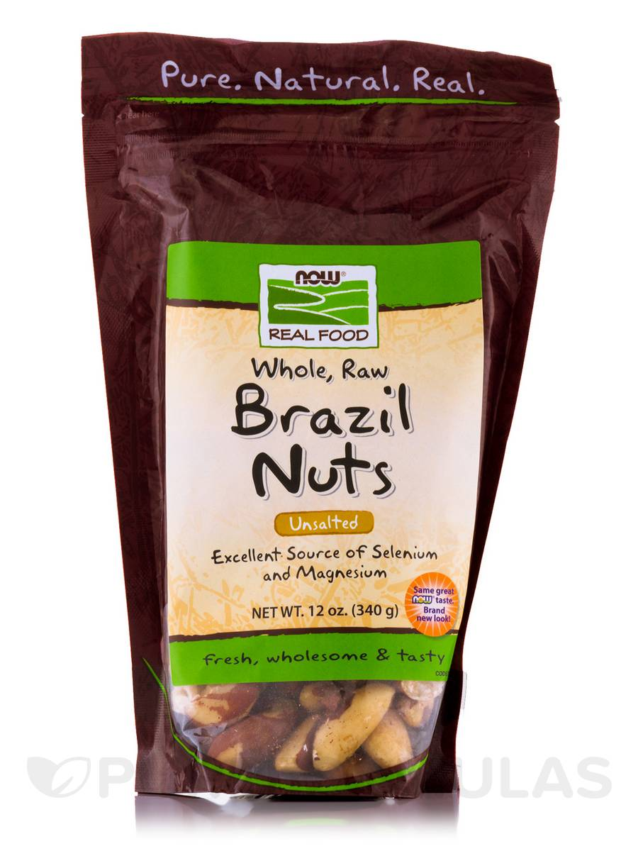NOW® Real Food - Brazil Nuts (Unsalted, Whole, Raw) - 12 oz (340 Grams)