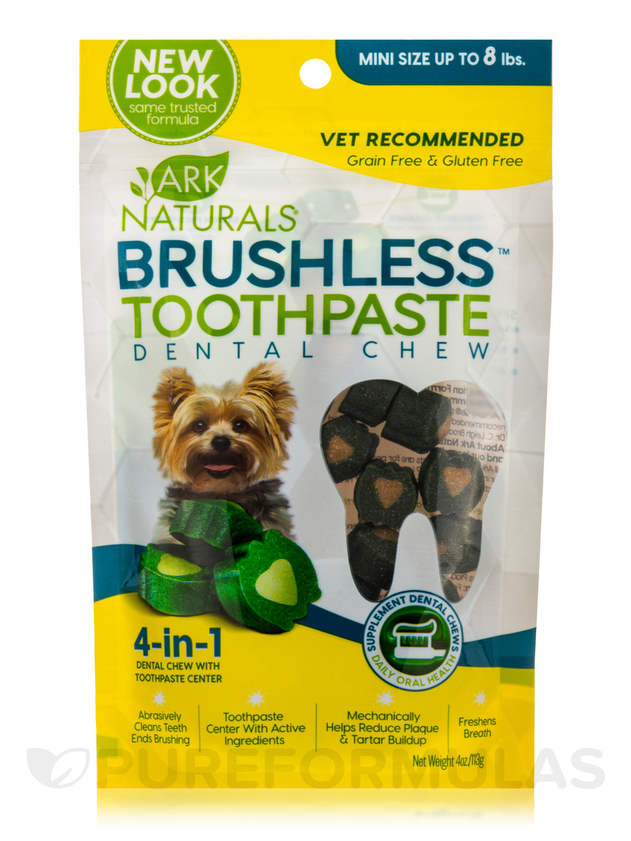 Brushless™ Toothpaste Dental Chew, Mini Size up to 8 lbs - 4 oz (113 Grams)