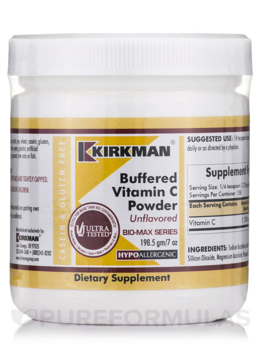 Buffered Vitamin C Powder Unflavored -Hypoallergenic - 7 oz (198.5 Grams)