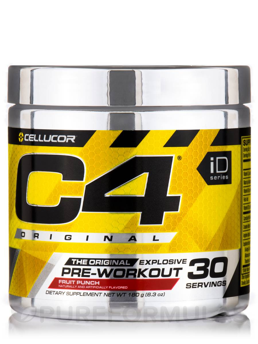C4® Original Explosive Pre-Workout, Fruit Punch Flavor - 30 Servings (6.3 oz / 180 Grams)