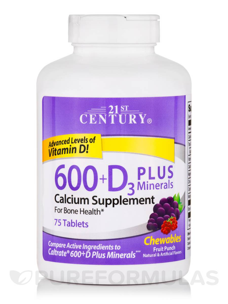 Calcium 600 + D3 Chewables with Minerals, Fruit Punch Flavor - 75 Tablets