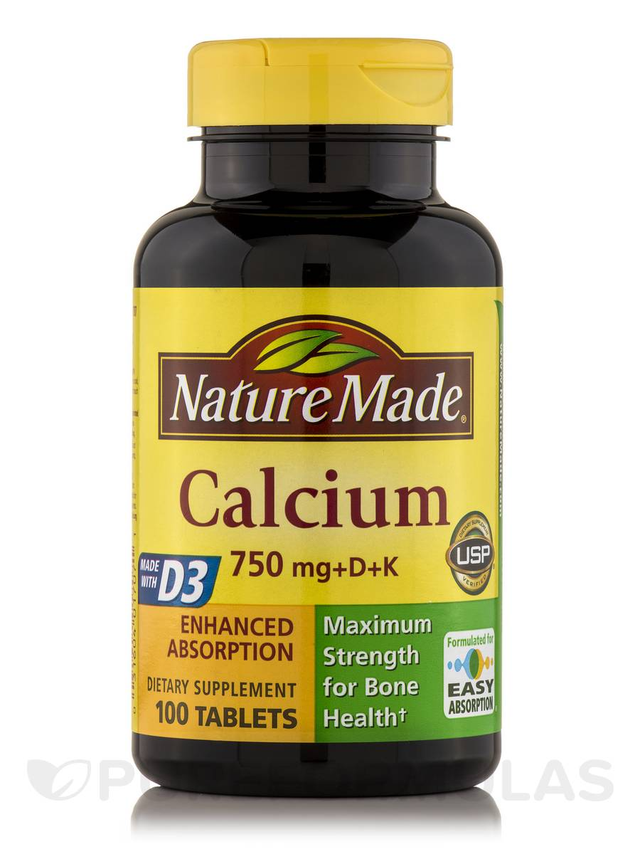 Calcium 750 mg with D & K - 100 Tablets