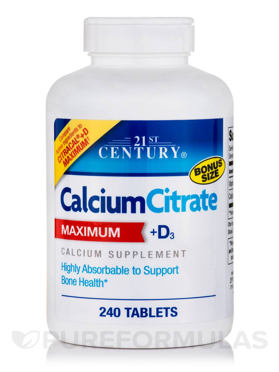 Calcium Citrate + D3 Maximum - 240 Tablets