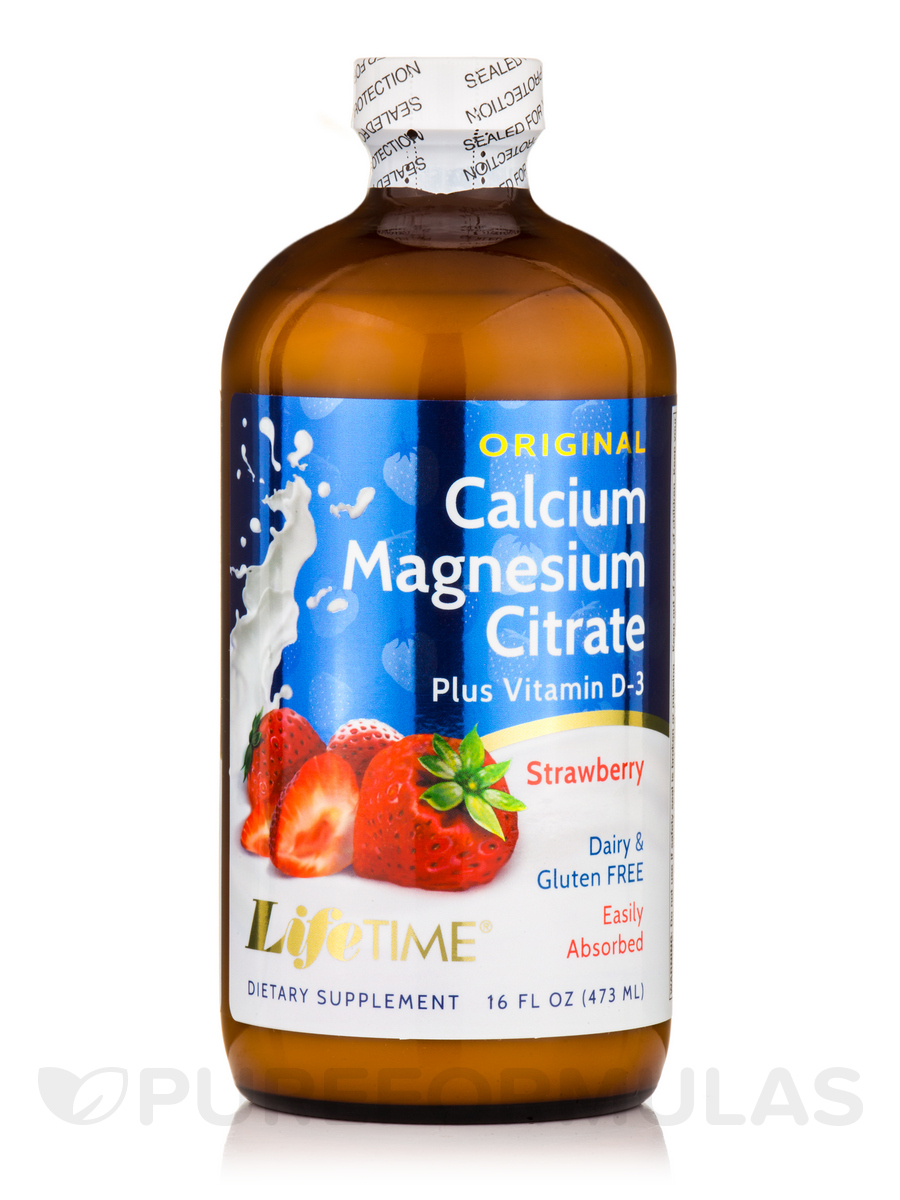 Calcium Magnesium Citrate plus Vitamin D-3 Original, Strawberry - 16 fl. oz (473 ml)