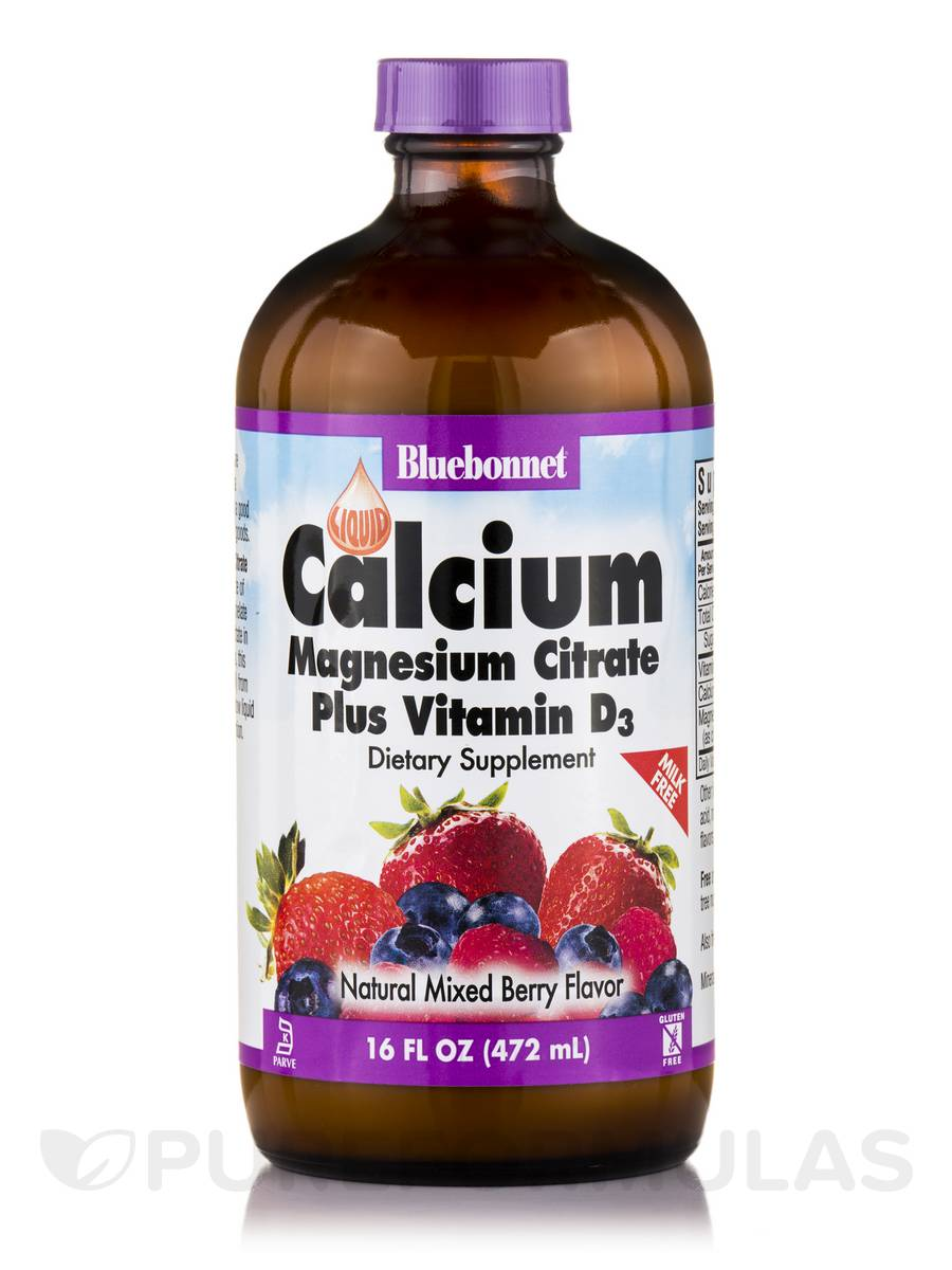 Liquid Calcium Magnesium Citrate Plus Vitamin D3, Mixed Berry Flavor (Milk-Free) - 16 fl. oz (472 ml)