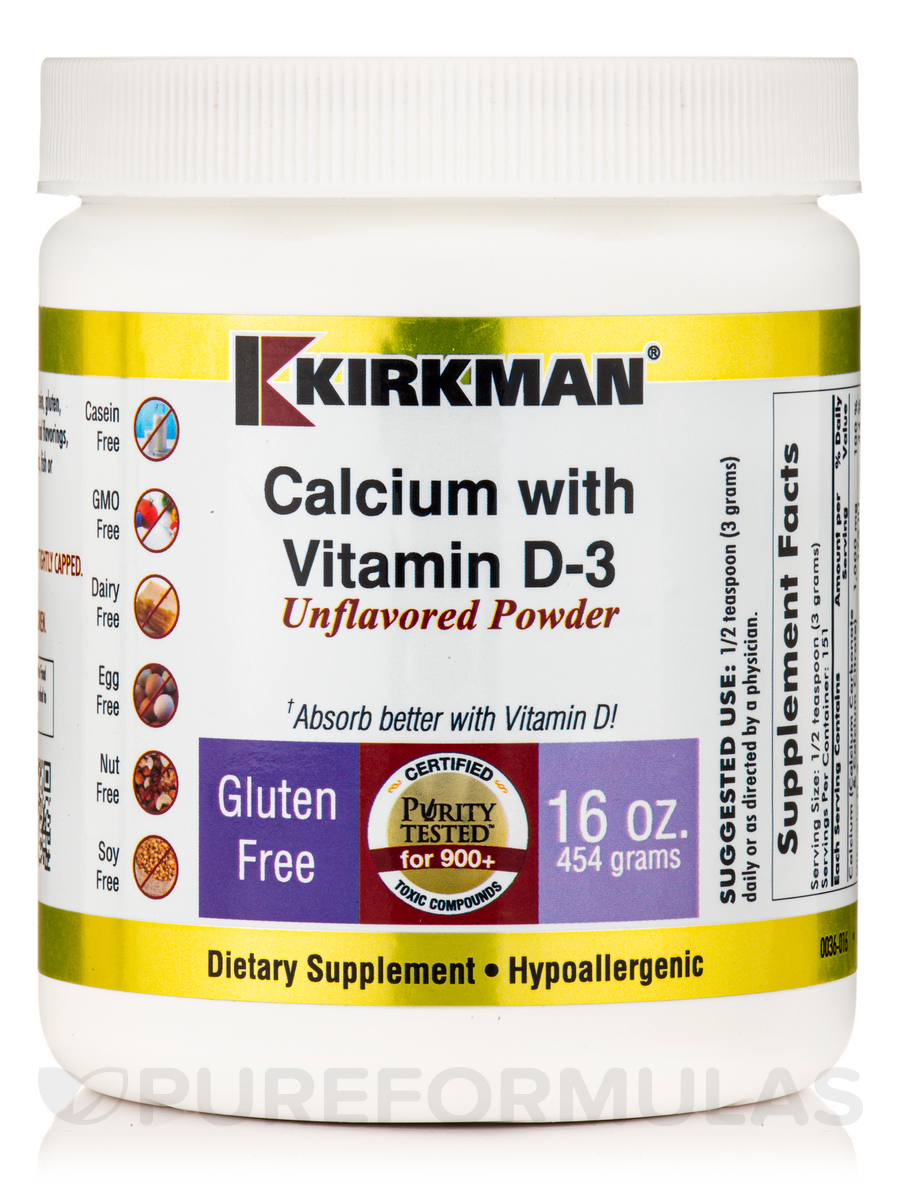 Calcium with Vitamin D3 Unflavored Powder -Hypoallergenic - 16 oz (454 Grams)