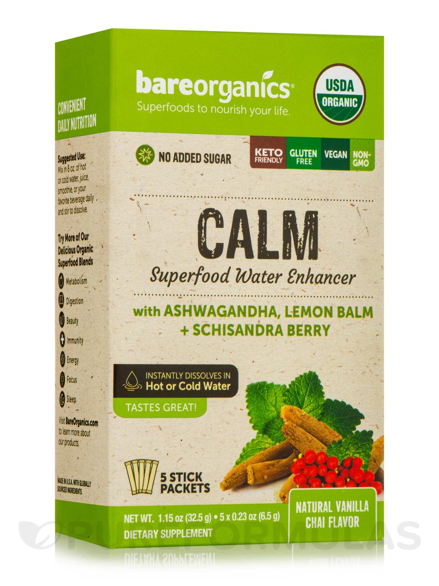 Calm Superfood Water Enhancer, Vanilla Chai Flavor - 5 Stick Packets (1.15 oz / 32.5 Grams)