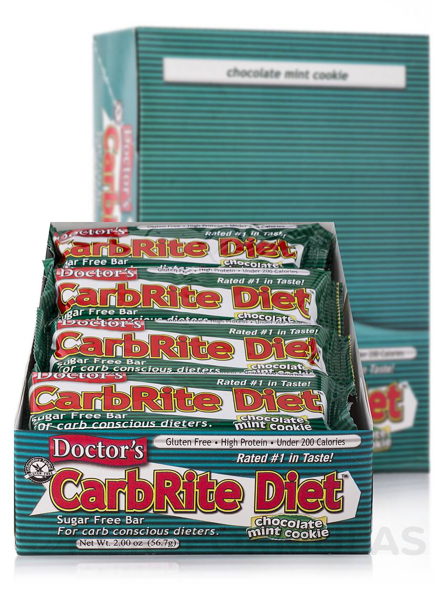CarbRite Bar Chocolate Mint Cookie - Box of 12 Bars
