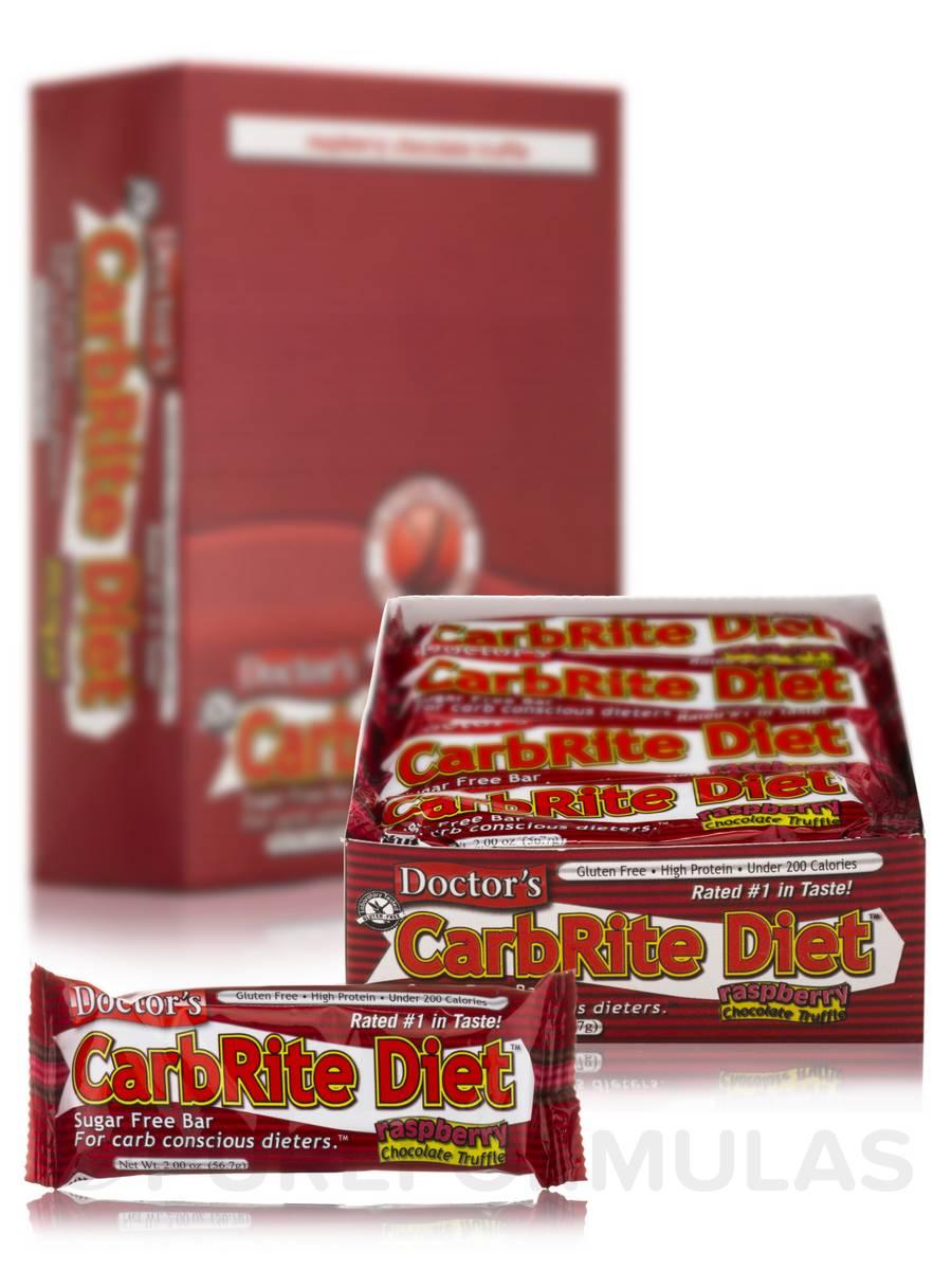 CarbRite Bar Chocolate Raspberry Truffle - Box of 12 Bars