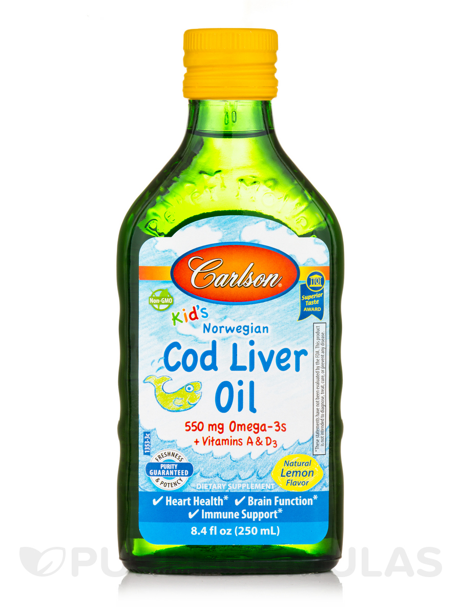 Carlson for Kids Norwegian Cod Liver Oil, Natural Lemon Flavor - 8.4 fl. oz (250 ml)
