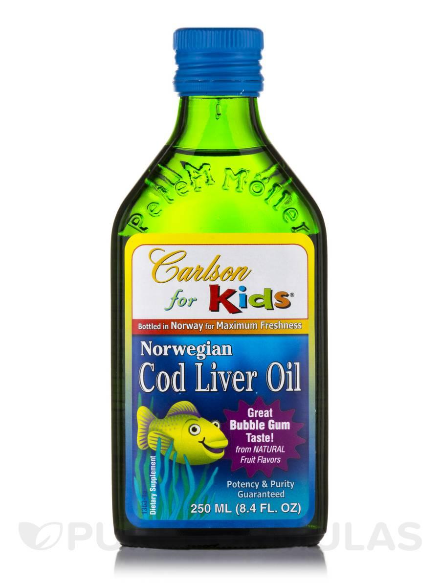 Carlson for Kids Norwegian Cod Liver Oil Bubble Gum Flavor - 8.4 fl. oz (250 ml)