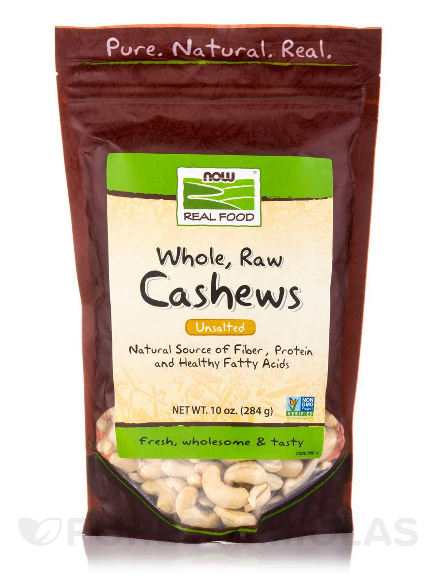 NOW Real Food® - Cashews (Unsalted, Whole, Raw) - 10 oz (284 Grams)