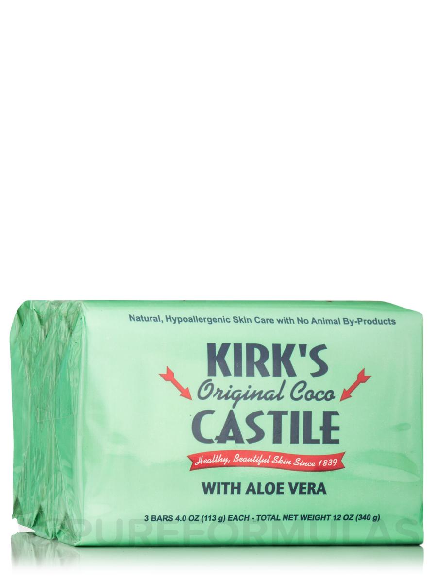 Castile Bar Soap, Aloe Vera - 3 Bars (4 oz / 113 Grams each)