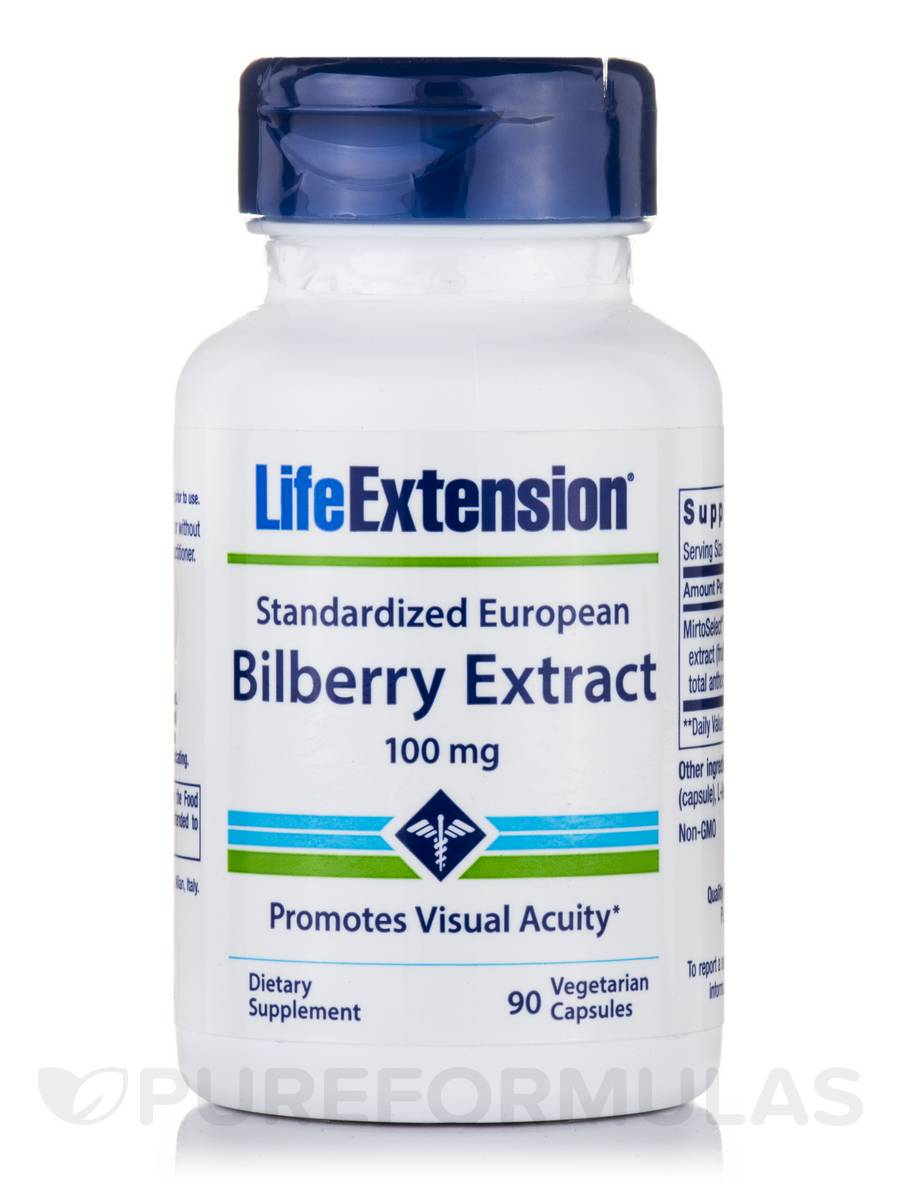 Standardized European Bilberry Extract 100 mg - 90 Vegetarian Capsules