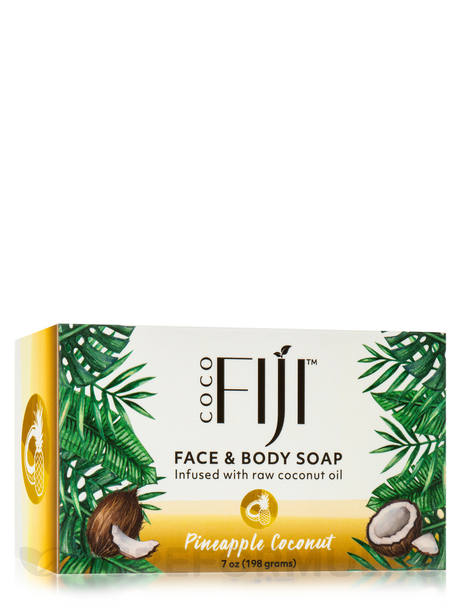 Face & Body Soap - Infused with Raw Coconut Oil - Pineapple Coconut - 7 oz (198 Grams)
