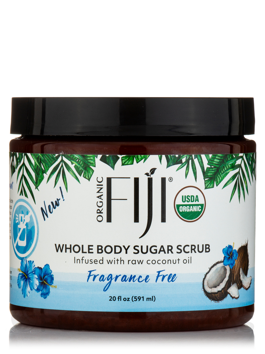 Organic Coconut Oil Body Scrub - Fragrance Free Sugar Scrub - 20 oz (566 Grams)
