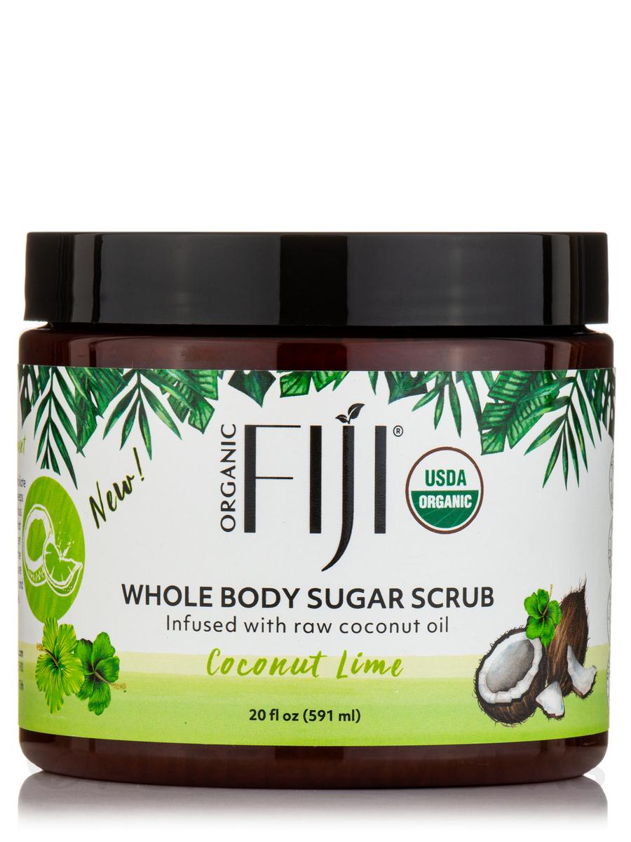 Certified Organic Whole Body Coconut Oil Infused Sugar Scrub, Coconut Lime - 20 fl. oz (591 ml)