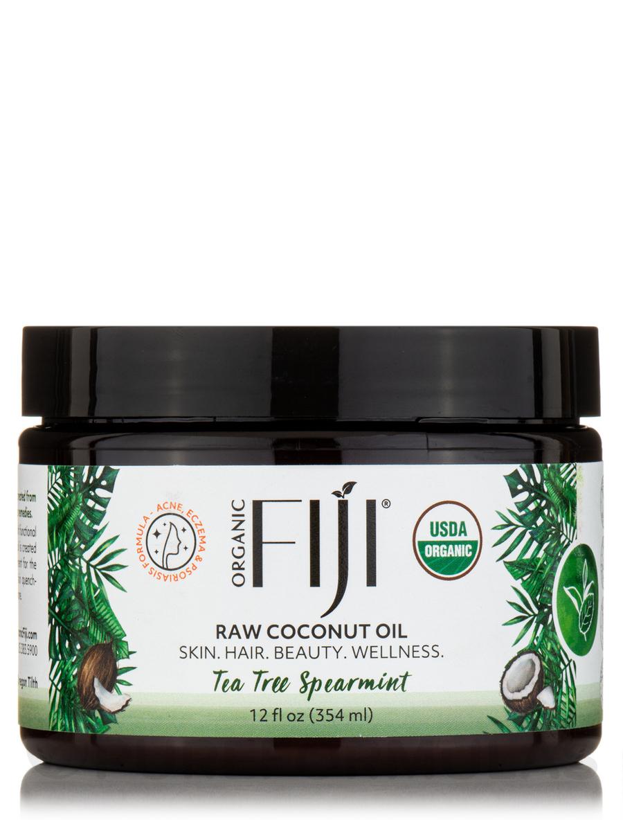 Certified Organic Whole Body Raw Coconut Oil, Tea Tree Spearmint - 12 fl. oz (354 ml)