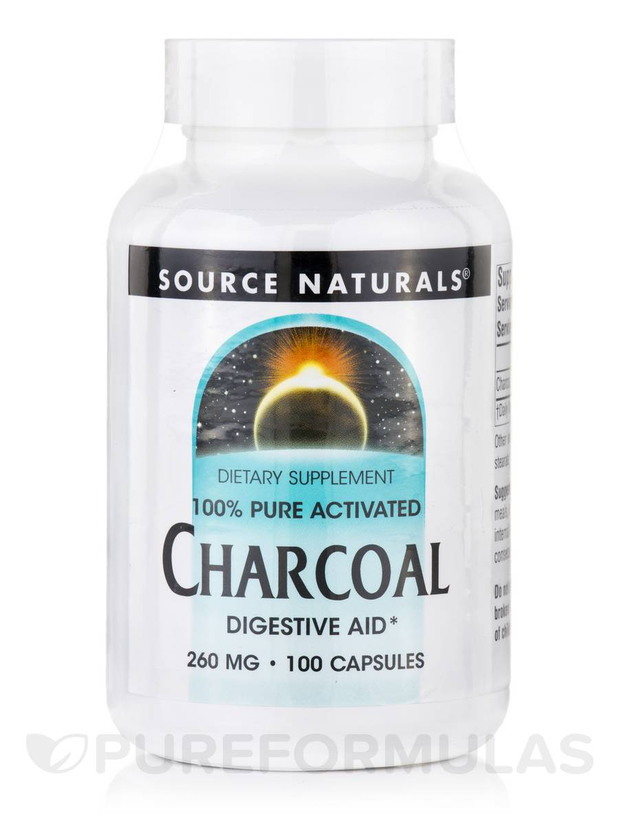 Charcoal (100% Pure Activated) 260 mg - 100 Capsules