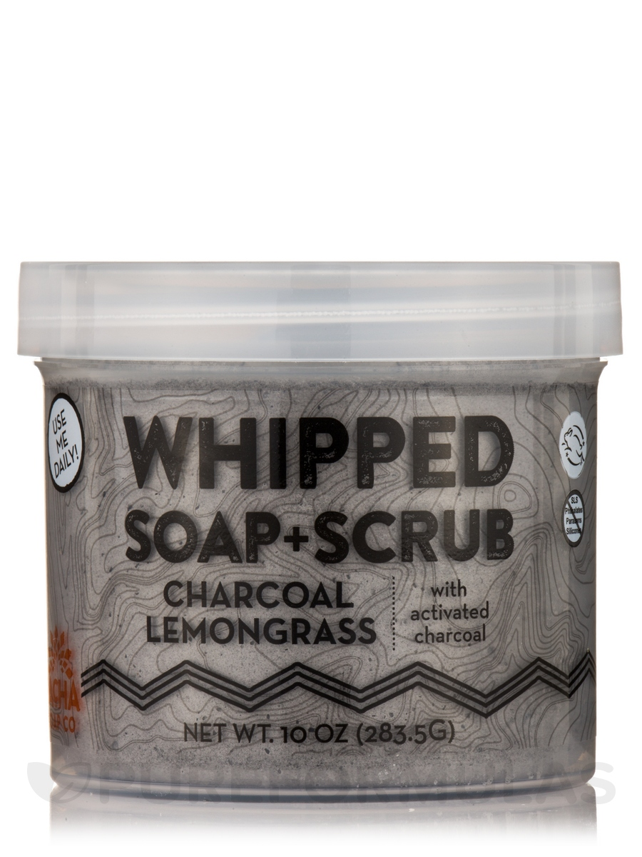 Charcoal Lemongrass Whipped Soap + Scrub - 10 oz (283.5 Grams)