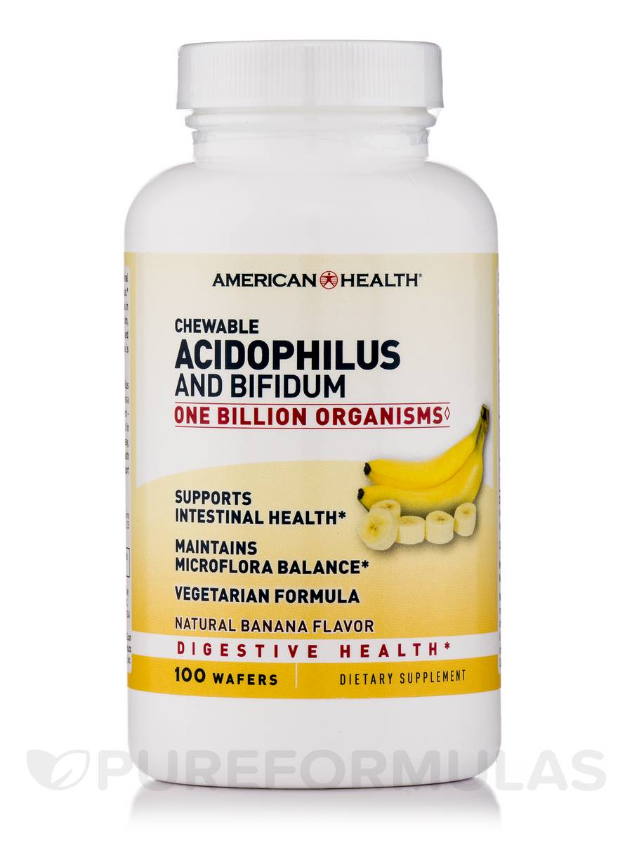 Chewable Acidophilus and Bifidum Natural Banana - 100 Wafers