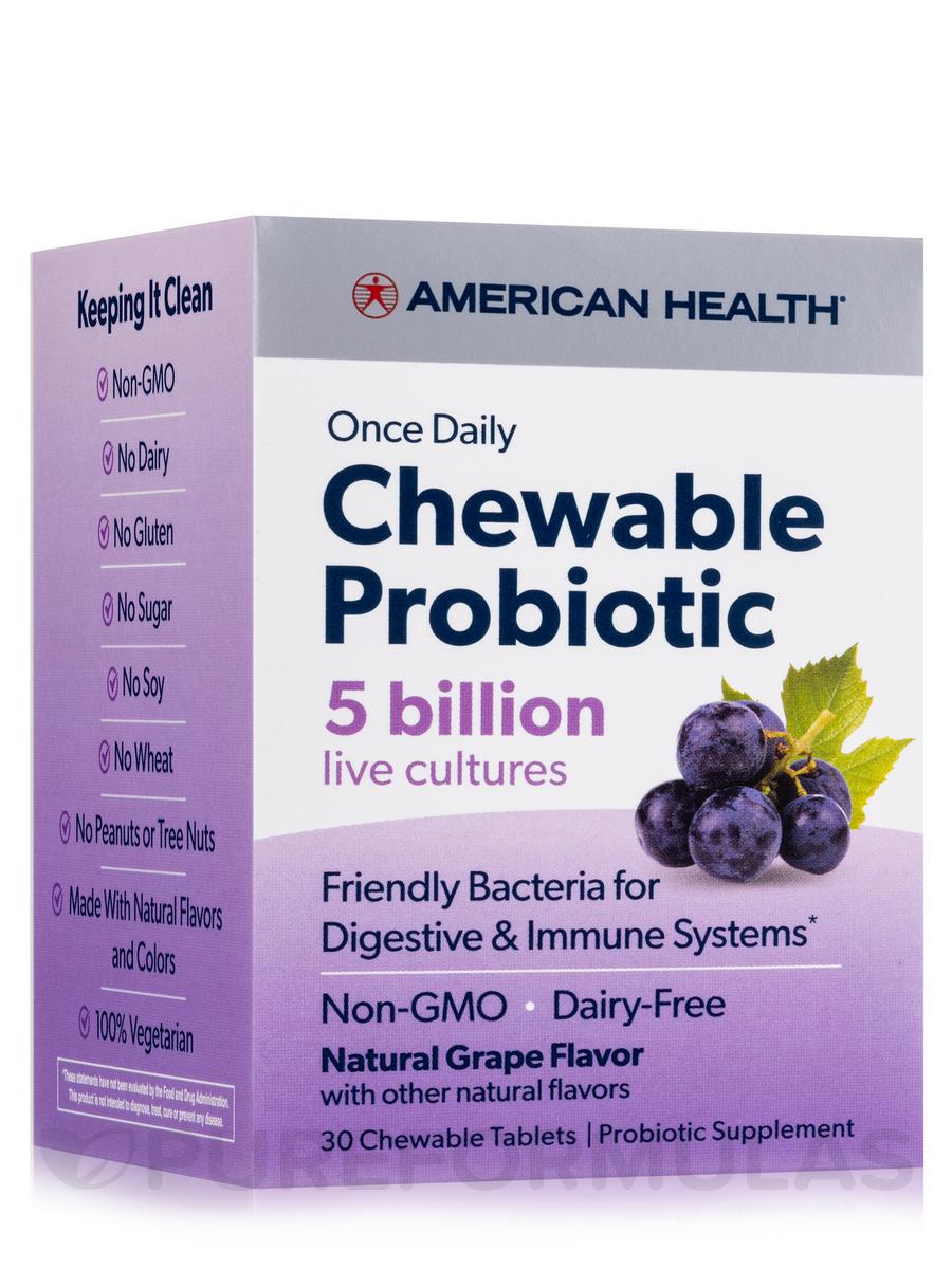 Chewable Probiotic 5 Billion, Natural Grape Flavor - 30 Chewable Tablets